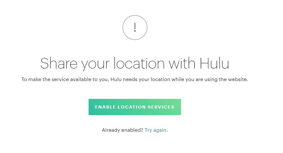 Hulu Location Error